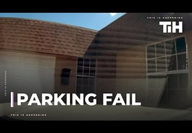 Driver Fails While Parking and Crashes Car Into Garage's Door